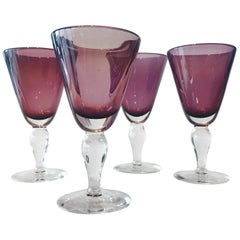 Set of Four Handblown Amethyst Murano Stemware Glasses