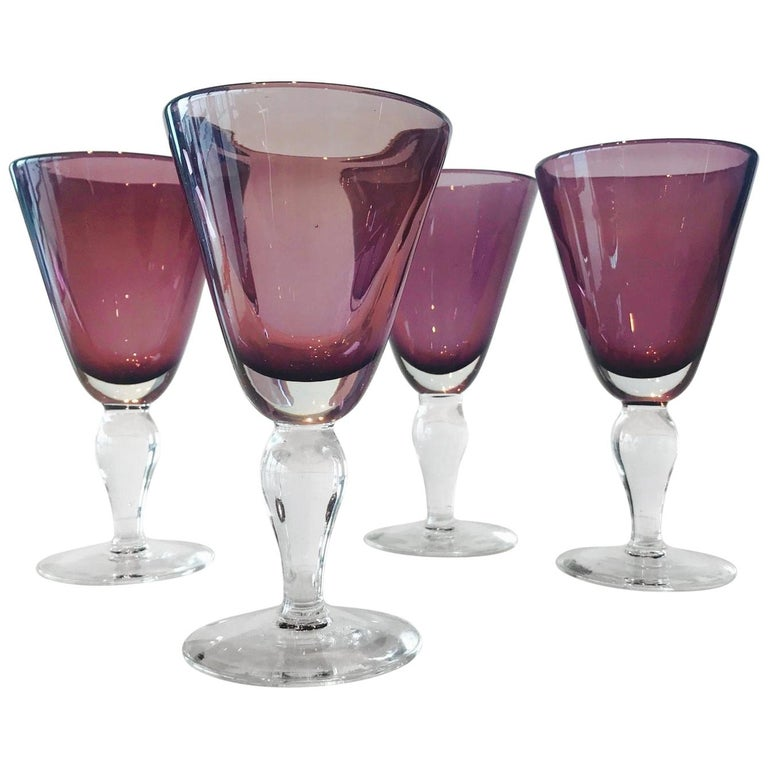Set of four handblown amethyst Murano glasses, 1980s, offered by Rearview Modern