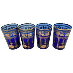 Set of Four Handblown Italian Moorish Blue and Gold Glasses
