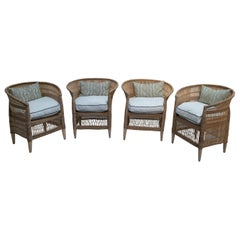 Set of Four Handwoven Rattan Wooden Upholstered Armchairs