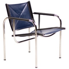 Set of Four Hans Eichenberger Blue Leather Strässle Armchairs