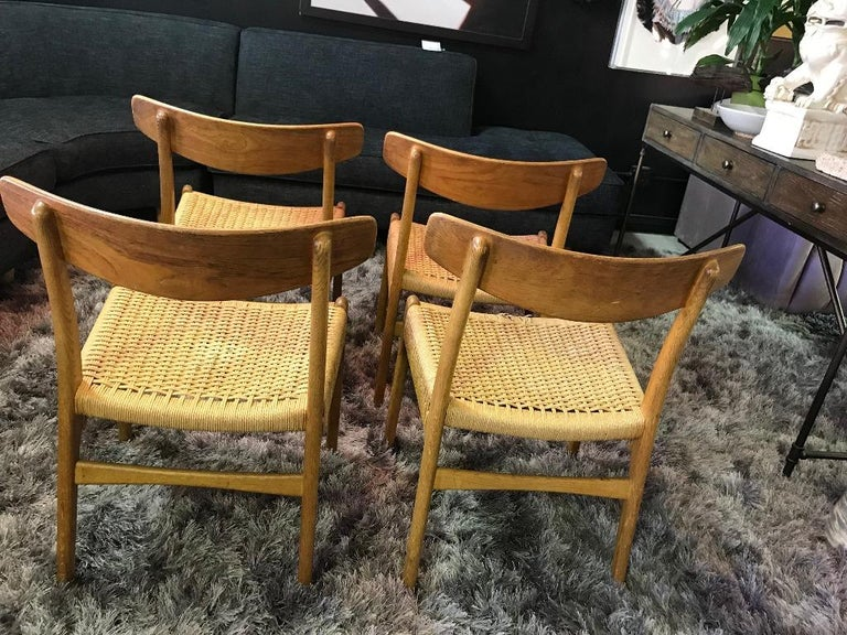 Hans Wegner Set of Four Mid-Century Modern Classic CH23 Dining Chairs For Sale 3