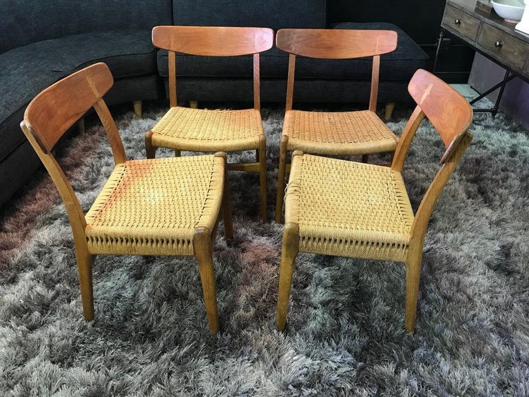 Hans Wegner Set of Four Mid-Century Modern Classic CH23 Dining Chairs For Sale 11
