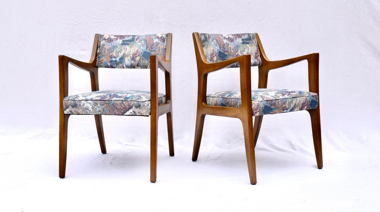 Set of Four Harvey Probber Mahogany Dining Chairs, 1950s fully restored with beautifully maintained original finish.