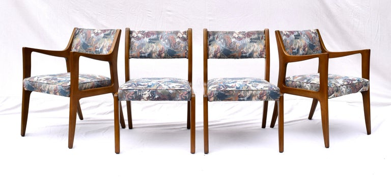 Mid-Century Modern Set of Four Harvey Probber Mahogany Dining Chairs, 1950s For Sale