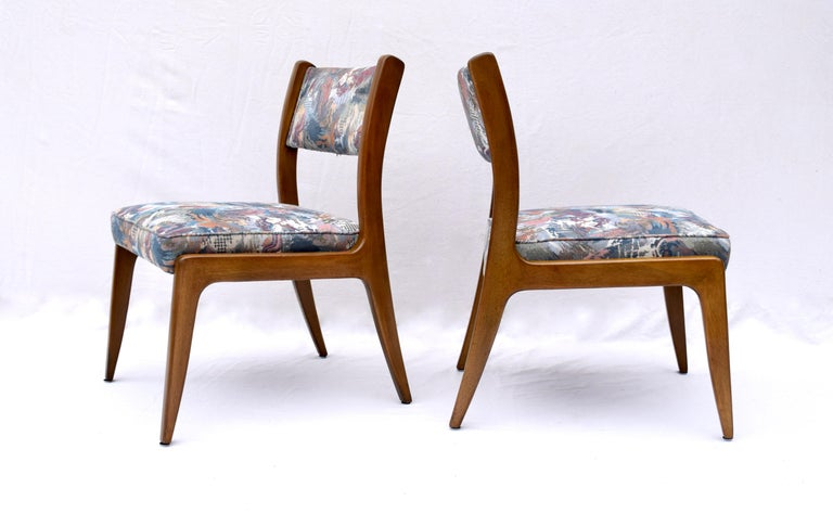 Set of Four Harvey Probber Mahogany Dining Chairs, 1950s For Sale 1