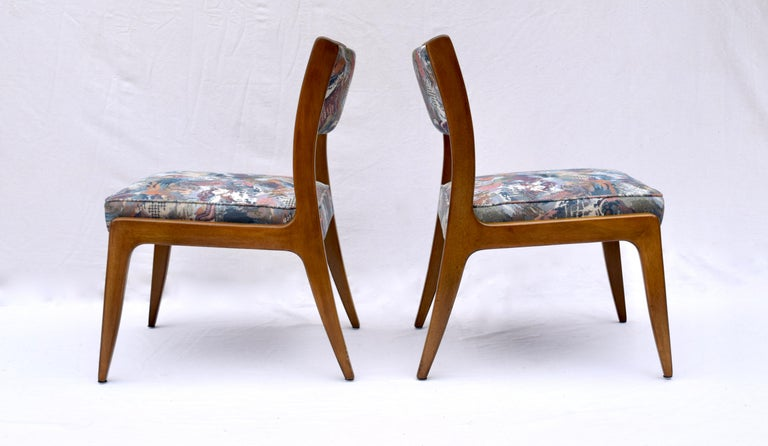Set of Four Harvey Probber Mahogany Dining Chairs, 1950s For Sale 3