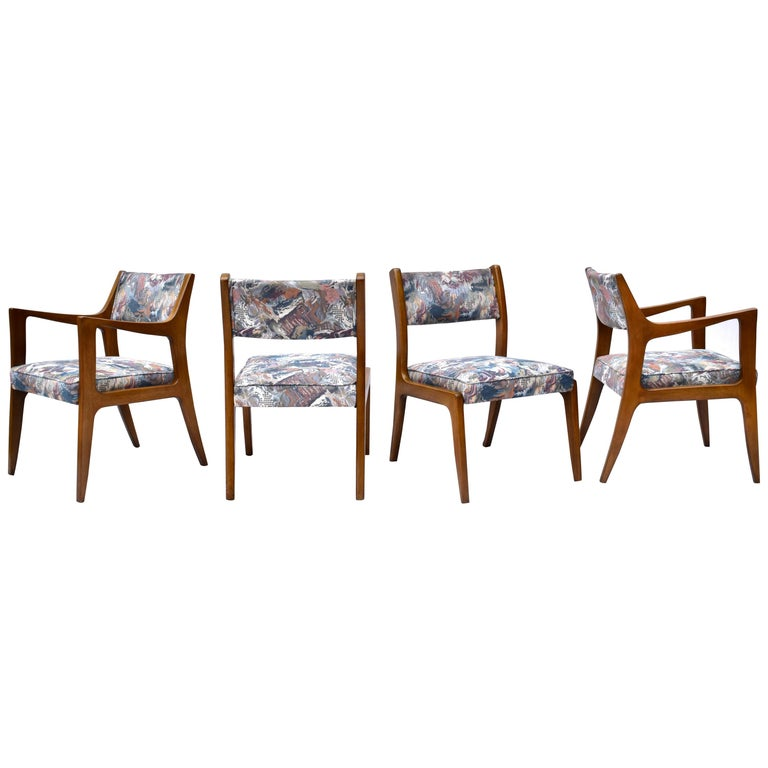 Set of Four Harvey Probber Mahogany Dining Chairs, 1950s For Sale