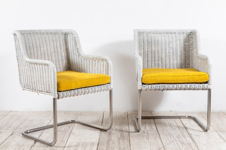 Set of Four Harvey Probber Style White Wicker Chairs with Yellow Cushions In Good Condition For Sale In Los Angeles, CA