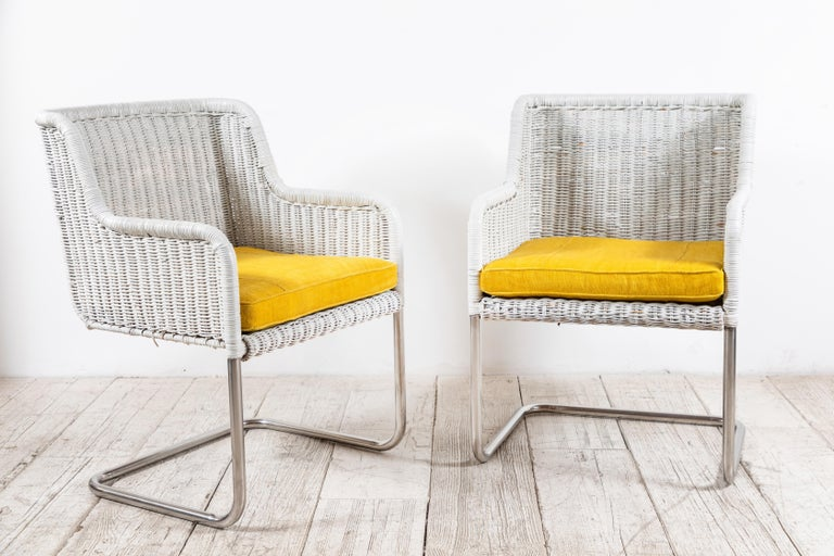 Late 20th Century Set of Four Harvey Probber Style White Wicker Chairs with Yellow Cushions For Sale