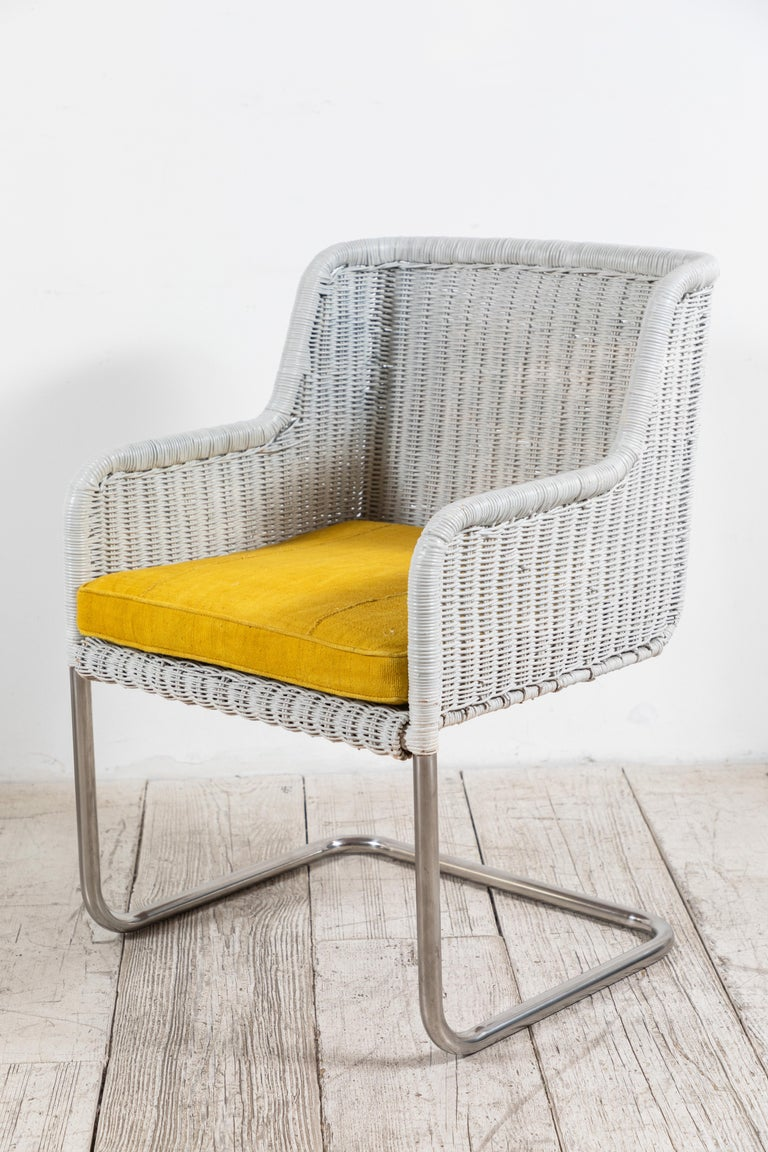 Set of Four Harvey Probber Style White Wicker Chairs with Yellow Cushions For Sale 1