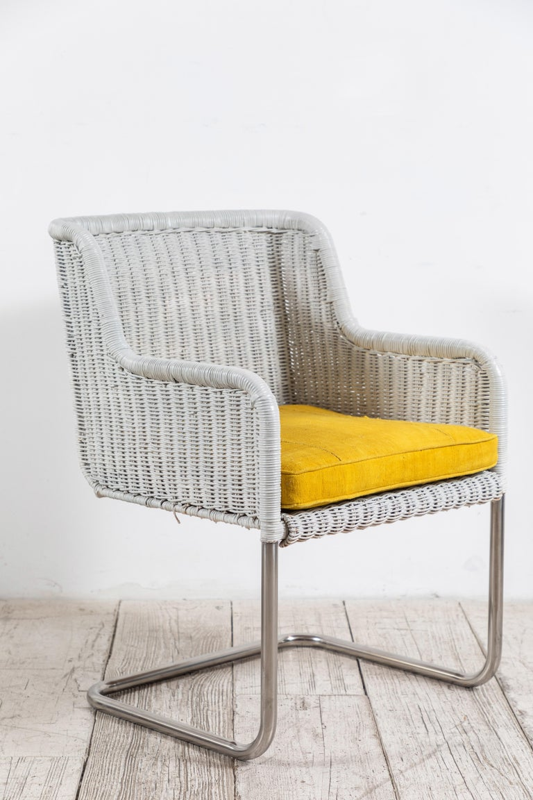 Set of Four Harvey Probber Style White Wicker Chairs with Yellow Cushions For Sale 4