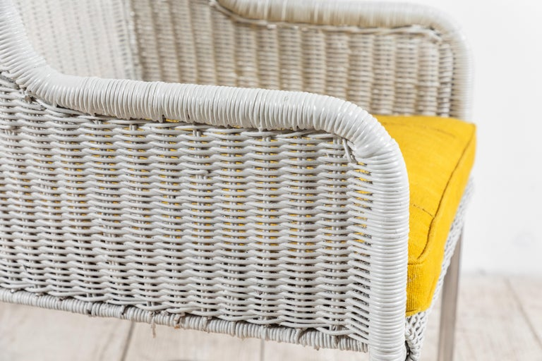 Set of Four Harvey Probber Style White Wicker Chairs with Yellow Cushions For Sale 5