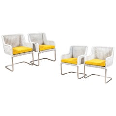 Set of Four Harvey Probber Style White Wicker Chairs with Yellow Cushions