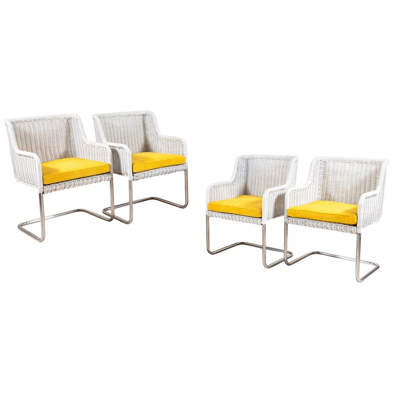 Set Of Four Harvey Probber Style White Wicker Chairs With Yellow