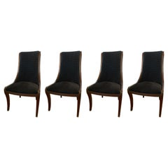 Set of Four Henredon Matching Dining Chairs with Black Velvet Upholstery