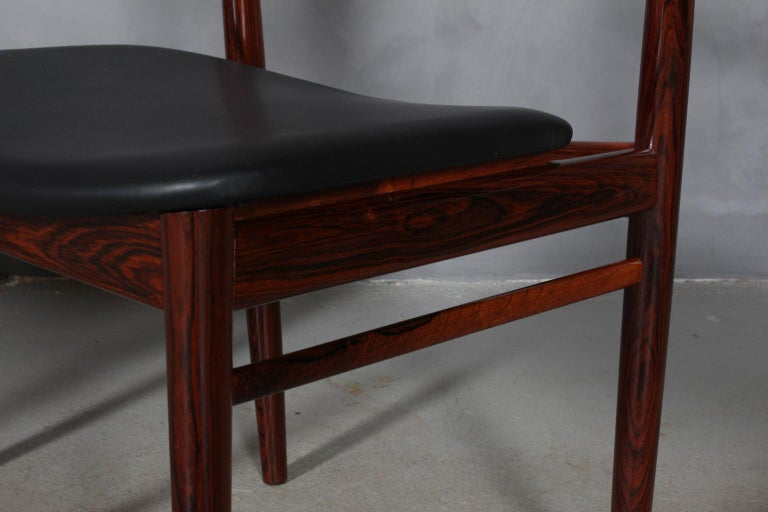 Leather Set of Four Henry Rosengren Hansen Dining Chairs For Sale