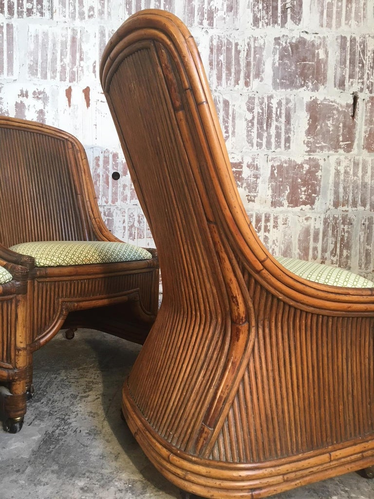 Hollywood Regency Set of Four High Back Rattan and Bamboo Sculptural Dining Chairs For Sale