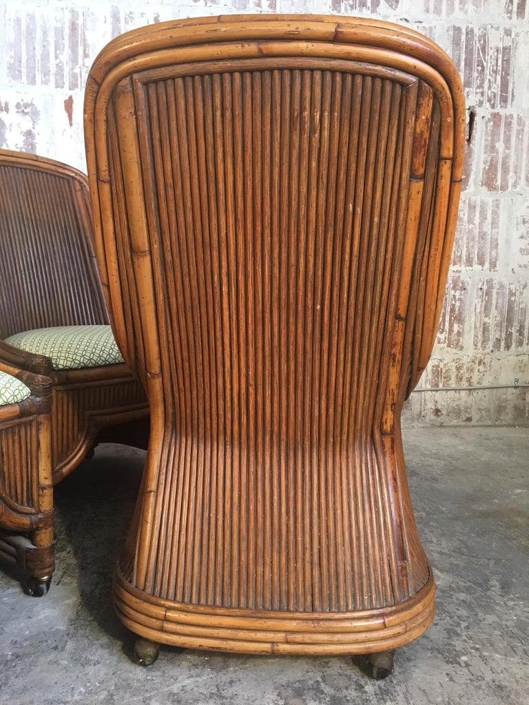 Set of Four High Back Rattan and Bamboo Sculptural Dining Chairs For Sale 1