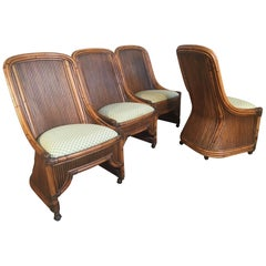 Set of Four High Back Rattan and Bamboo Sculptural Dining Chairs