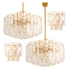 "Set of Four High-End Kalmar ""Palazzo"" Light Fixtures Gilt Brass and Glass"
