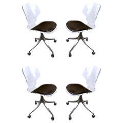 Set of Four Hill Lucite Rolling Chairs