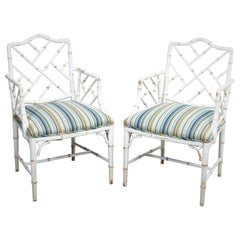 Set of Four Hollywood Regency Faux Bamboo Chairs