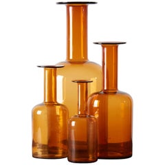 Set of Four Holmegaard Gulv Vases by Otto Brauer, in Amber