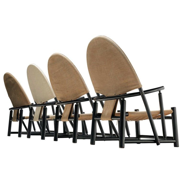 "Set of Four ""Hoop"" Lounge Chairs by Werther Toffoloni & Piero Palange For Sale"
