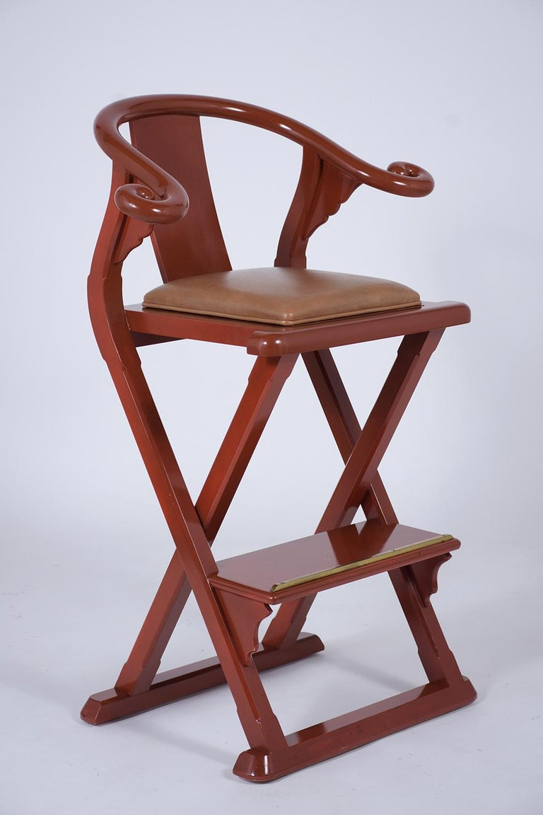 Mid-Century Modern Set of Four Leather Bar Stools For Sale