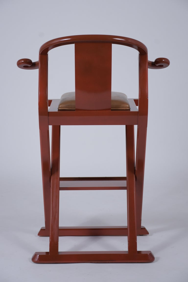 Set of Four Leather Bar Stools For Sale 2
