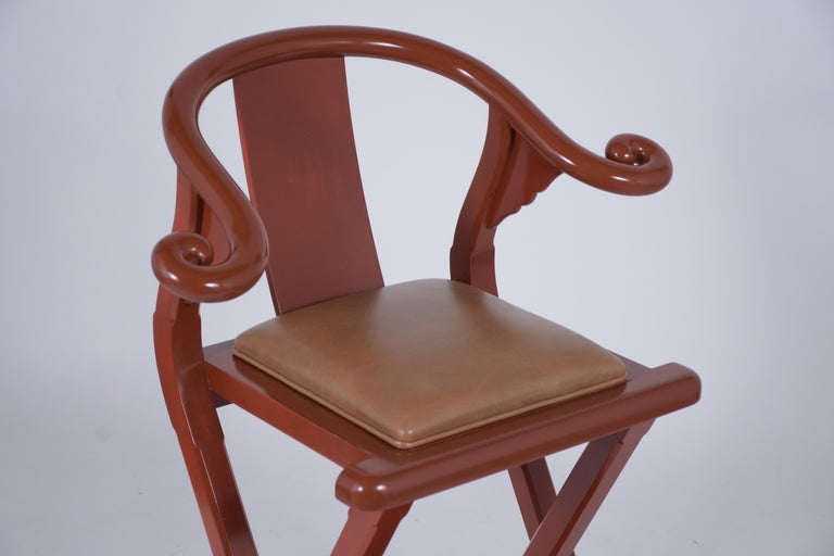 American Set of Four Leather Bar Stools For Sale