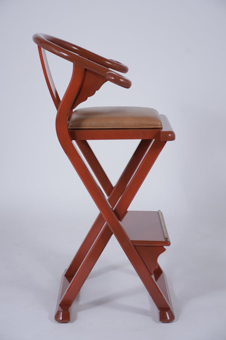 Set of Four Leather Bar Stools For Sale 1