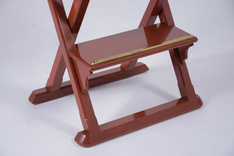 Hand-Carved Set of Four Leather Bar Stools For Sale