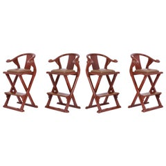 Set of Four Leather Bar Stools