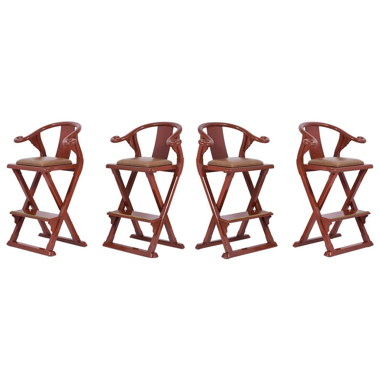 Set of Four Leather Bar Stools For Sale