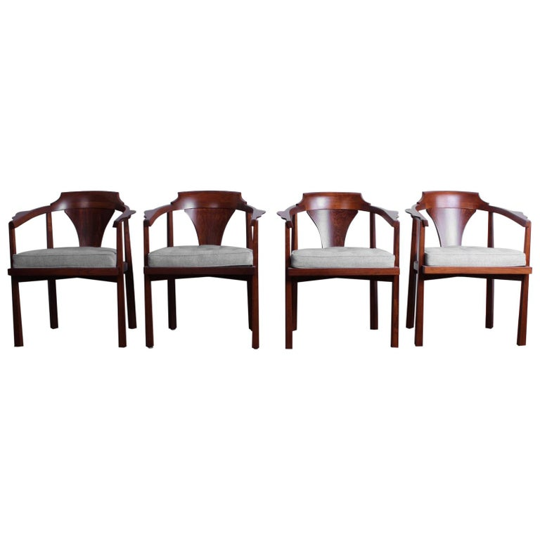 """Set of Four """"Horseshoe"""" Chairs by Edward Wormley for Dunbar For Sale"""