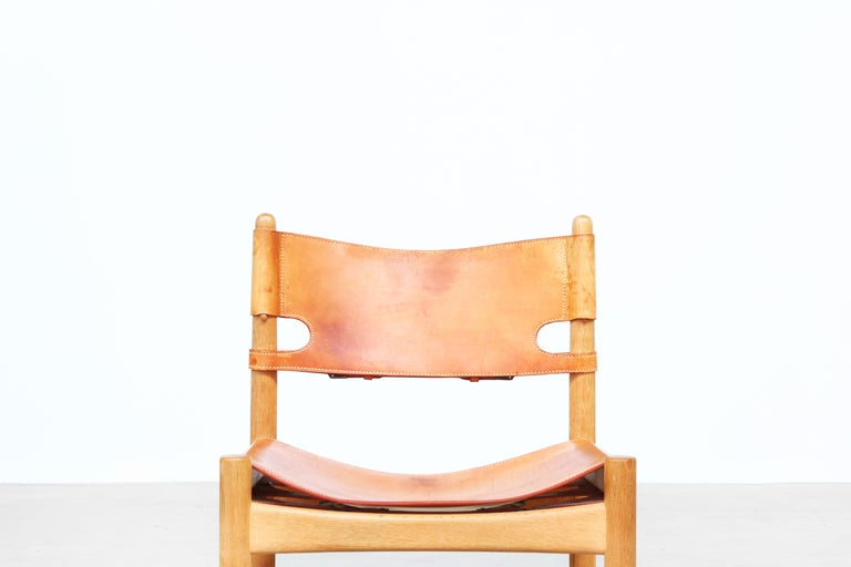 Leather Set of Four Hunting Dining Chairs 3237 by Børge Mogensen for Fredericia Denmark  For Sale