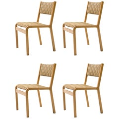 Set of Four Hvidt Canvas Strap Dining Chairs