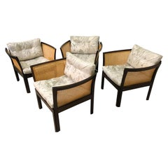 Set of Four Illum Vikkelso Danish Plexus Easy Chairs in Mahogany