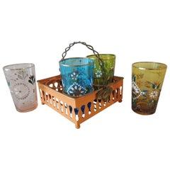 Set of Four Indian Tea Petite Glasses on Metal Rack