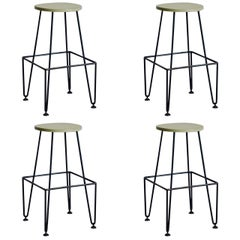 Set of Four Industrial Counter-Height Bar Stools by Frederick Weinberg