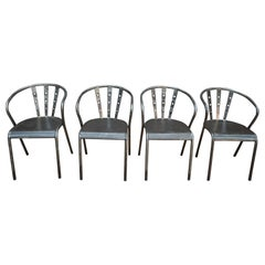 Set of Four Industrial Iron Chairs, circa 1950