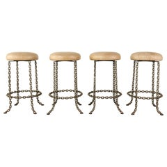 Set of Four Industrial Style Chain Link Swivel Barstools