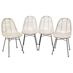 Set of Four Iron and Bamboo Chairs, circa 1970