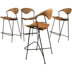 Set of Four Iron Bar Stools by Arthur Umanoff