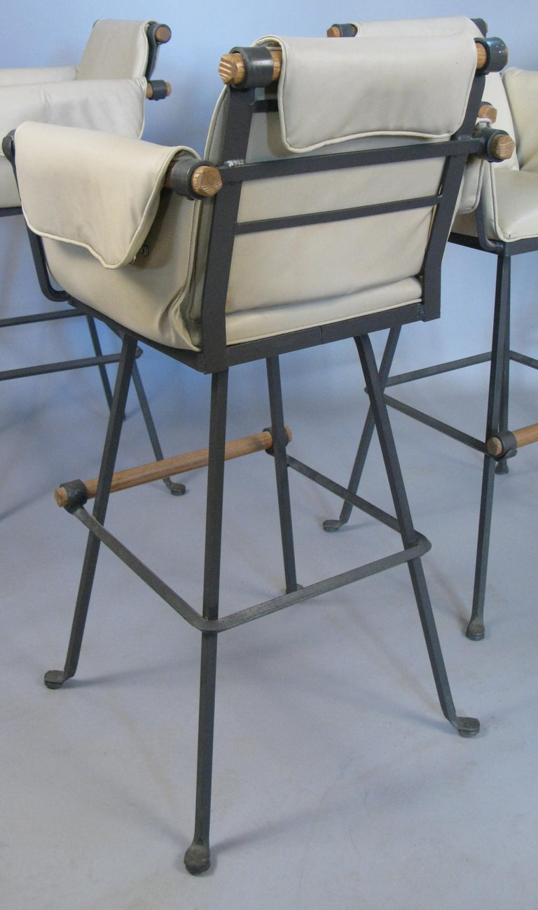 Set of Four Iron and Oak Swivel Barstools by Cleo Baldon For Sale 1