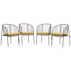 Set of Four Iron Rod Outdoor Chairs by George Nelson for Arbuck, 1950s