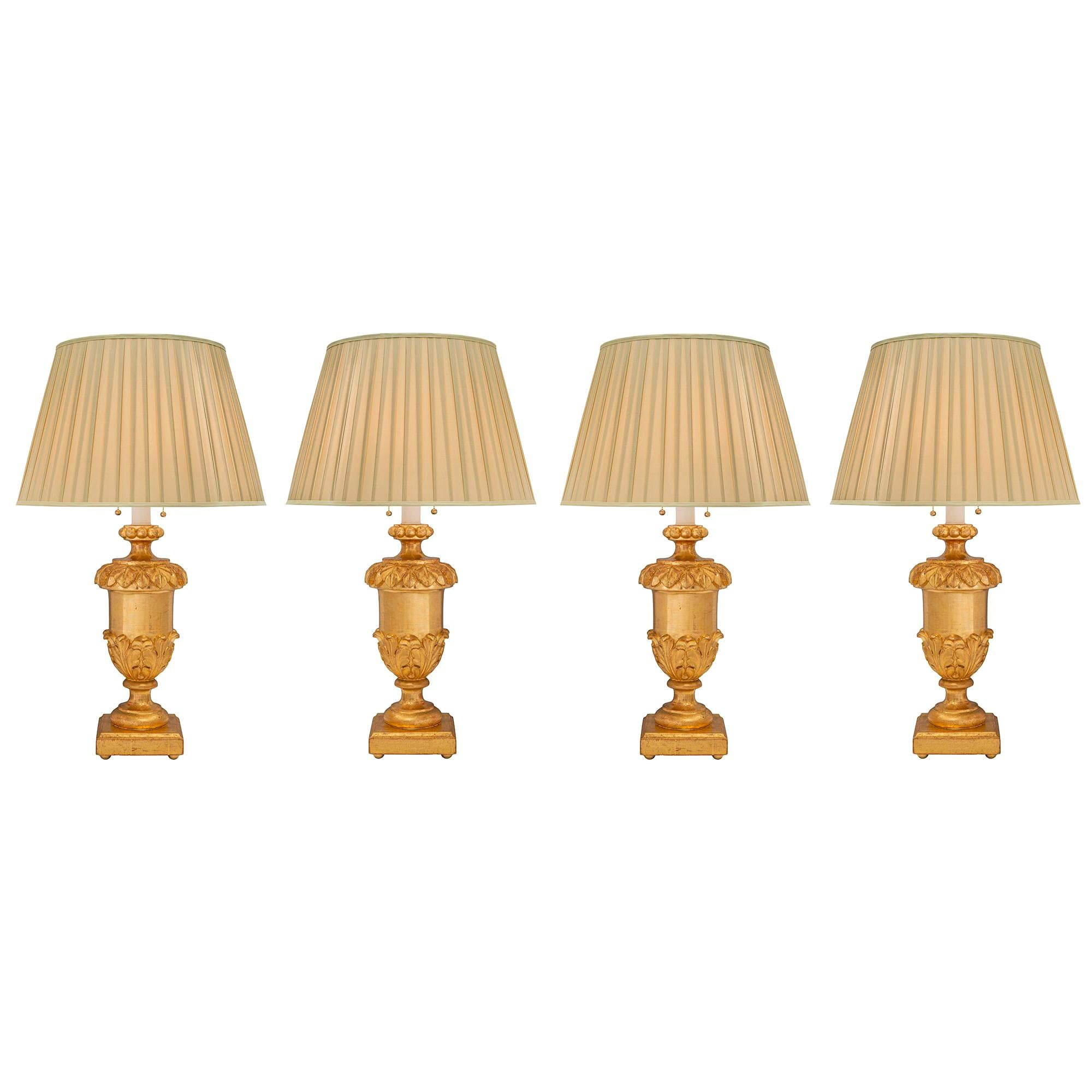 Set of Four Italian 18th Louis XVI Period Giltwood Lamps