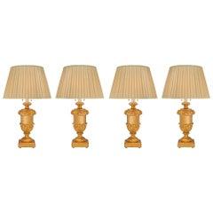 Set of Four Italian 18th Louis XVI Period Giltwood Lamps